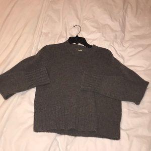 J Crew 100% wool grey sweater 3/4 sleeve